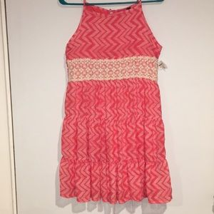 NWTPinky Dress Coral and cream layered dressSz 16